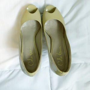 Cole Han Nike Air Patent Peep Toe Platform Nude